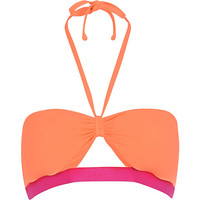 River Island Womens Pink color block cut out bandeau bikini top