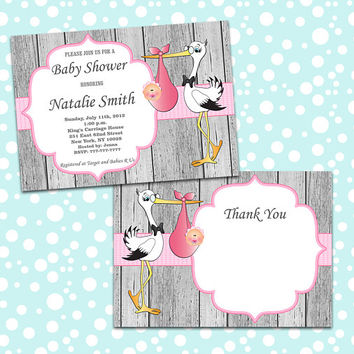 Girl Baby Shower Invitation Stork Baby Shower Invitation Baby Girl Shower Invitation Baby Shower Invite Pink (50-1WA) Free Thank You Card