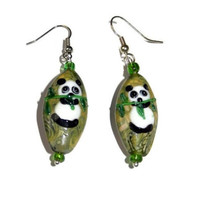 Green Panda Bear Lampwork Earrings