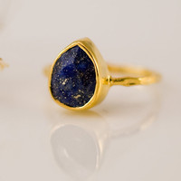 18K Gold Vermeil Ring - Lapis Ring -  Gemstone Ring - Bezel Ring - September Birthstone - Mother's Day Gift