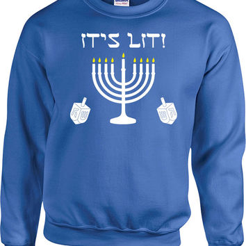 Funny Hanukkah Sweater Holiday Outfit Chanukah Jewish Clothing Holiday Gifts Hanukkah Menorah Israel Hebrew Dreidel It's Lit Hoodie - SA692