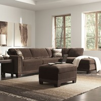 2 pc Mason collection chocolate velvet fabric upholstered sectional sofa with chaise and wood trim base
