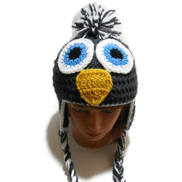 Crochet Penguin Ear Flap Beanie Hat in Charcoal and white