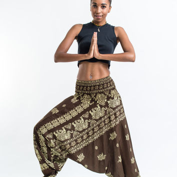 Elephant Raja Jumpsuit Harem Pants in Olive