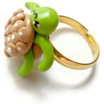Kawaii Ring Polymer Clay Turtle