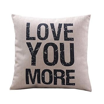 Love You More Cotton Linen Pillow Cover