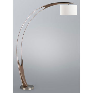 NOVA Lighting 2110458 Hull Chestnut and Brushed Nickel One-Light Arc Lamp with White Linen Shade