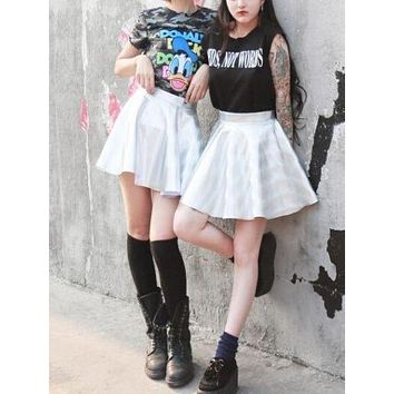 Women's Shiny Metallic Silver Skater Pleated Mini Skirt Galaxy Hologram Party Punk Rock Style