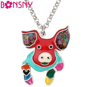Bonsny Alloy Enamel Lovely Floral Pig Piggy Necklace Choker Chain Collar Pendant Jewelry For Women Girls Lady Animal Accessory