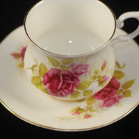 Roses Cup and Saucer, Collectible Royal Minster bone china