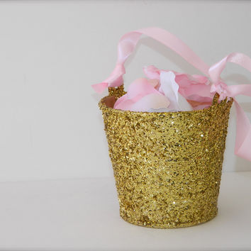 Gold Glitter Flower Girl Basket