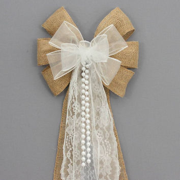 White Sheer Burlap Lace Pearl Wedding Pew Bow