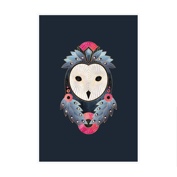 Owl Dark Background Art Print