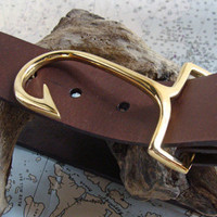 Brass Fish Hook Belt Buckle