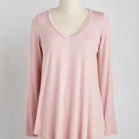 Long Long Sleeve Embracing Basic Top in Dusty Rose