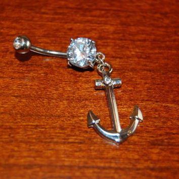 Anchor Belly Button Ring Piercing Preppy #Anchor #Beach #Preppy #Ring #BellyButton #Belly #Button #Diamond #Diamonds #Cute #Cool #Summer