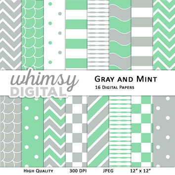 Gray and Mint Digital Paper with Stripes, Waves, Chevron, Polka Dots, Scallops, and Checkers in shades of Mint Green, Gray, and White