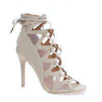 Sway Nude By Shoe Republic, Ghillie Mesh Cut Out Leg Wrap Heeled Sandals