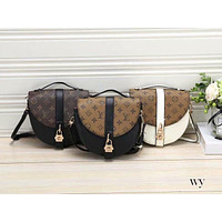 LV tide brand female models old flower color matching shoulder messenger bag saddle bag