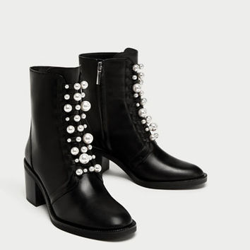 HIGH HEEL LEATHER ANKLE BOOTS WITH FAUX PEARLS DETAILS