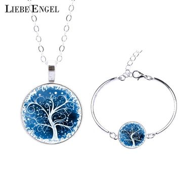 Life Tree Statement Necklace Bangles Bracelets Jewelry Sets Vintage Silver Color Jewelry for Women Men Christmas Gift 2015