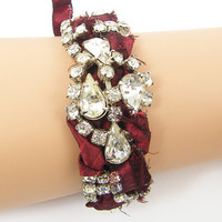Vintage Rhinestone Bracelet with Burgundy Sari Silk Weaving - Eclectic Metal and Textile Jewelry