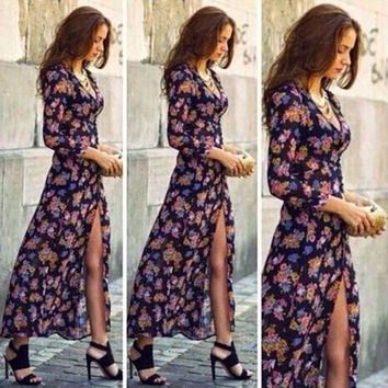 V-neck Long Sleeves Floral Sexy Long Dress