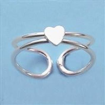 Sterling Silver Toe Ring with Heart