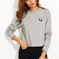 Sweatshirt With Embroidered Alien Patch
