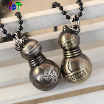 Naruto Sasauke ninja Anime  Beads Chain Pendant Necklace Gaara Design Men Woman Fashion Jewelry Figur bottle gourd   For Fans Gift AT_81_8