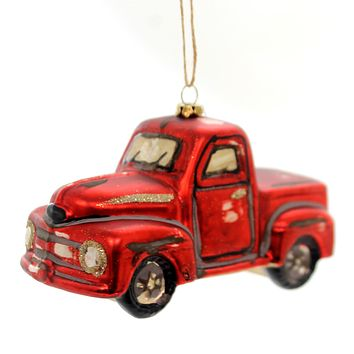Holiday Ornaments RED PICK-UP TRUCK ORNAMENT Glass Department 56 4059232