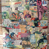 Vintage Comic Book Canvas Art Superman / Spiderman / by Stoic