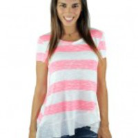 Pink And Ivory Burnout Ruffle Top
