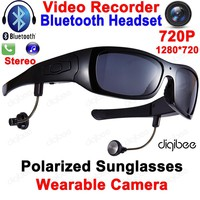 Cool Smart Polarized Sunglasses  with  Digital Video Recorder Camera with Bluetooth Headset