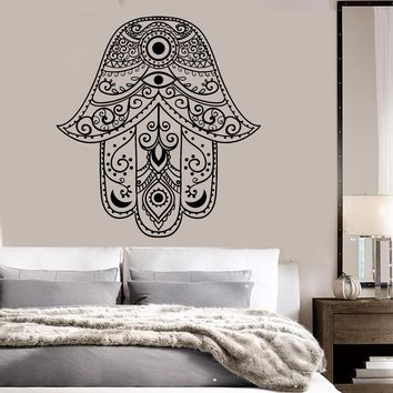 Vinyl Wall Decal Hamsa Hand of God Eye Talisman Bedroom Decor Stickers Unique Gift (ig3553)