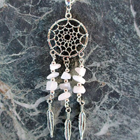 BUY 2 GET 3rd FREE Snow Quartz Dreamcatcher /Dream Catcher  Necklace Boho/Tribal Jewelry