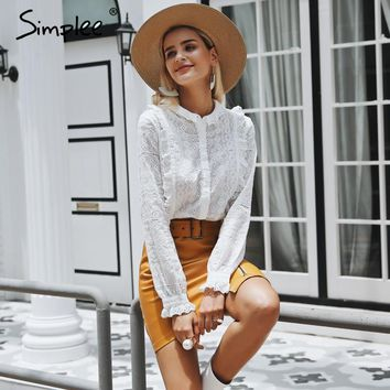 Simplee Embroidery lace hollow out women blouse shirt Ruffled long sleeve pleated blouse Elegant womens tops and blouses