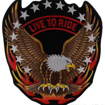 Live to Ride Flying Screaming Eagle Patch Embroidered Motorcycle Jacket Bike 12""