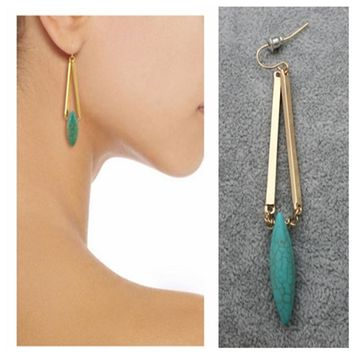 Exquisite Bohemia Natural Turquoise Gold Earing