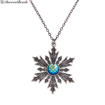 Handmade Druzy Fish /Dragon Scale Necklace Link Cable Chain Christmas Snowflake Blue AB Color Fish Scale 56cm, 1 PC