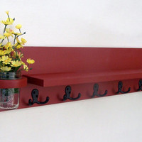 Coat Rack Shelf with Mail Holder - Coat Shelf - Coat Holder - Coat Hooks - Jar Vase - Painted Wood Shelf