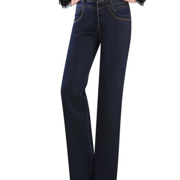 2017 high quality women's ladys embroidered denim high waist wide leg pants plus size pants jeans bell bottom