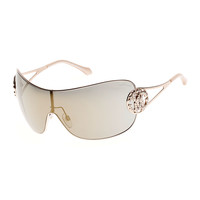 Mirrored Shield Sunglasses with Crystal Monogram Logo, Rose Gold - Roberto Cavalli - Rose gold