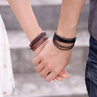 Couples Bracelets, Handmade Leather Couples Jewelry, His and Hers Braclet, Boyfriend Girlfriend Gift Graduation Gift 123