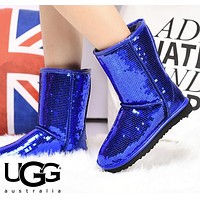 UGG Fashion Women Men Sequins Flats Wool Snow Boots Half Boots Shoes Blue