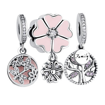 Shipinwei Original Charm Fit Pandora 925 Sterling Silver Dragonfly Daisy,Family Tree,Mother Heart Dangle Charms for Jewelry