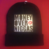 KB M.O.N. black beanie with the script Money Over by KillerBeanies