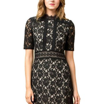 Short Sleeve High Neck Lace Dress, Black