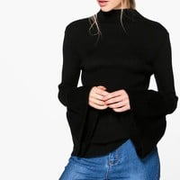 Isabella Funnel Neck Wide Sleeve Jumper | Boohoo