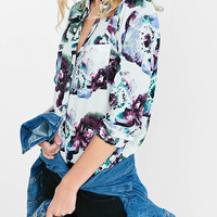 Ivory Watercolor Floral Portofino Shirt from EXPRESS